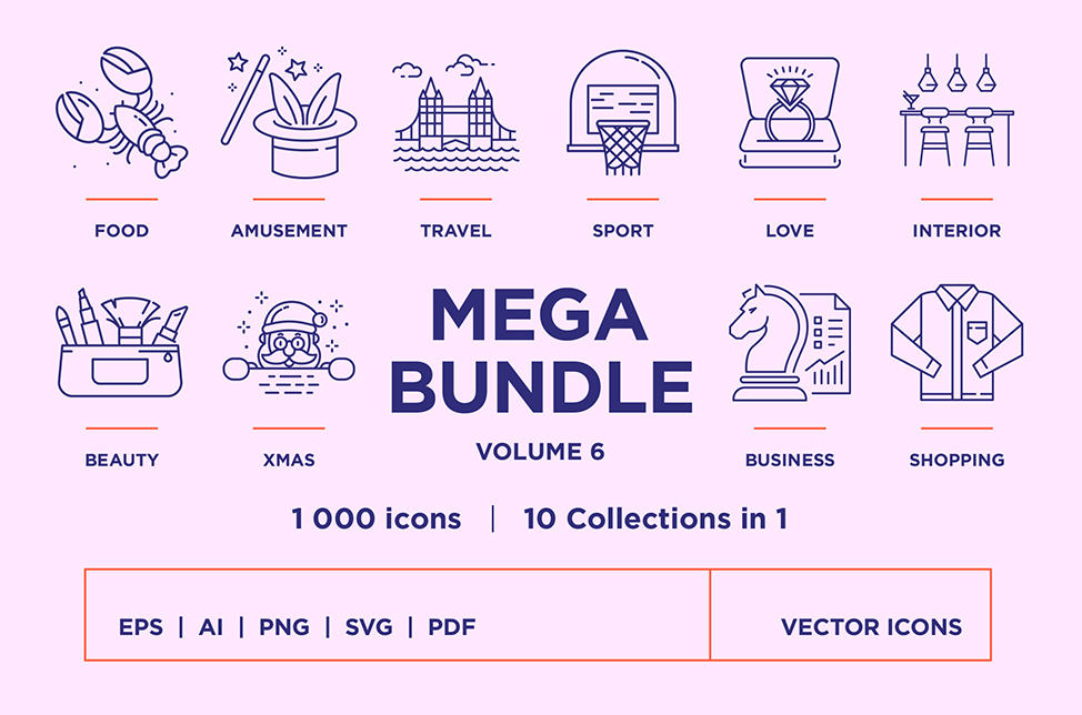 Mega Bundle – 1000 Line Icons