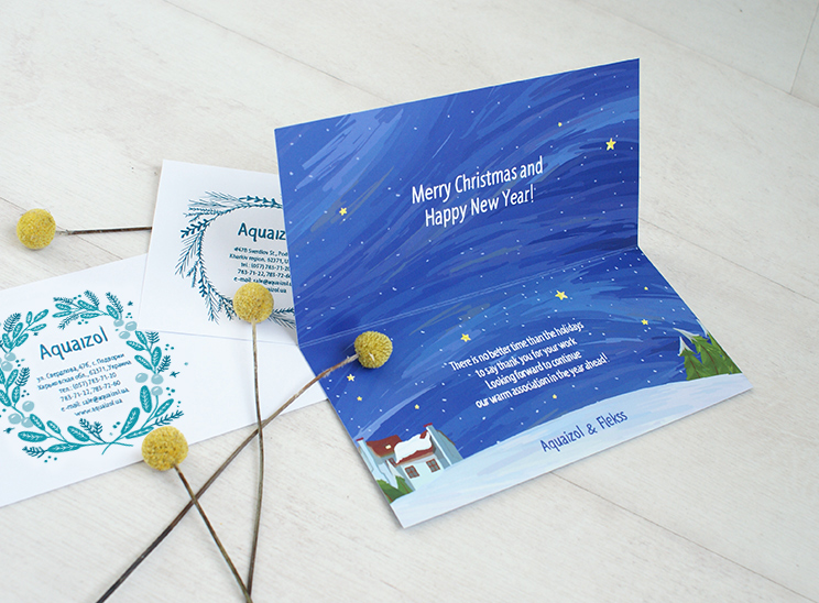 greeting card and envelope Aquaizol and Edelveis