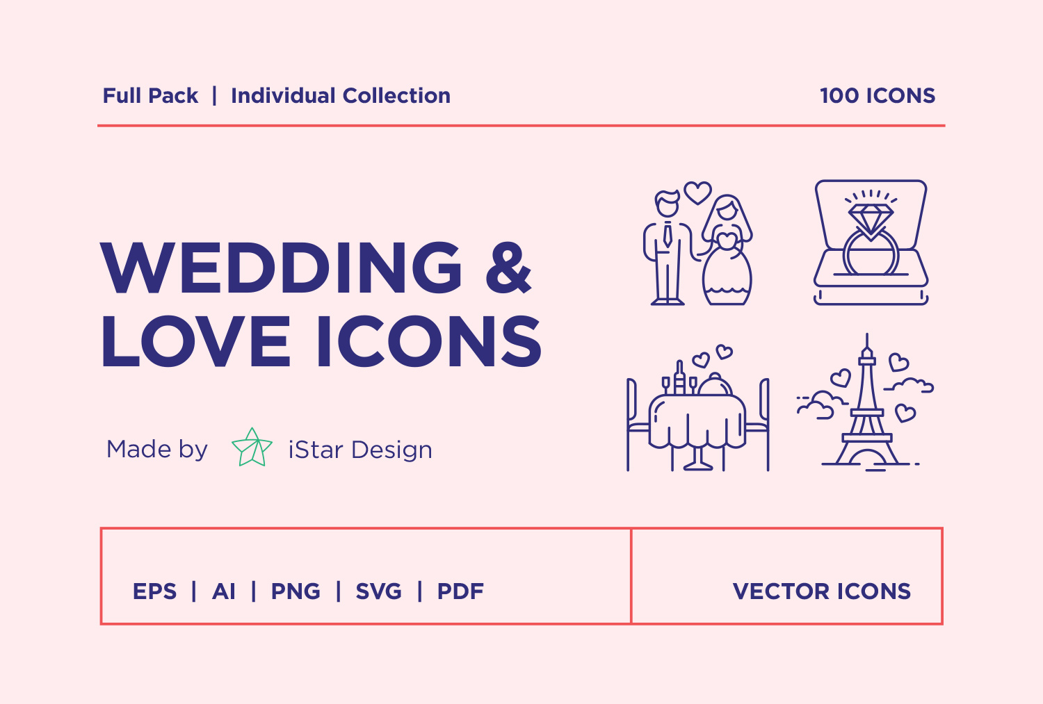 free Valentines Day Wedding Love Icons Set