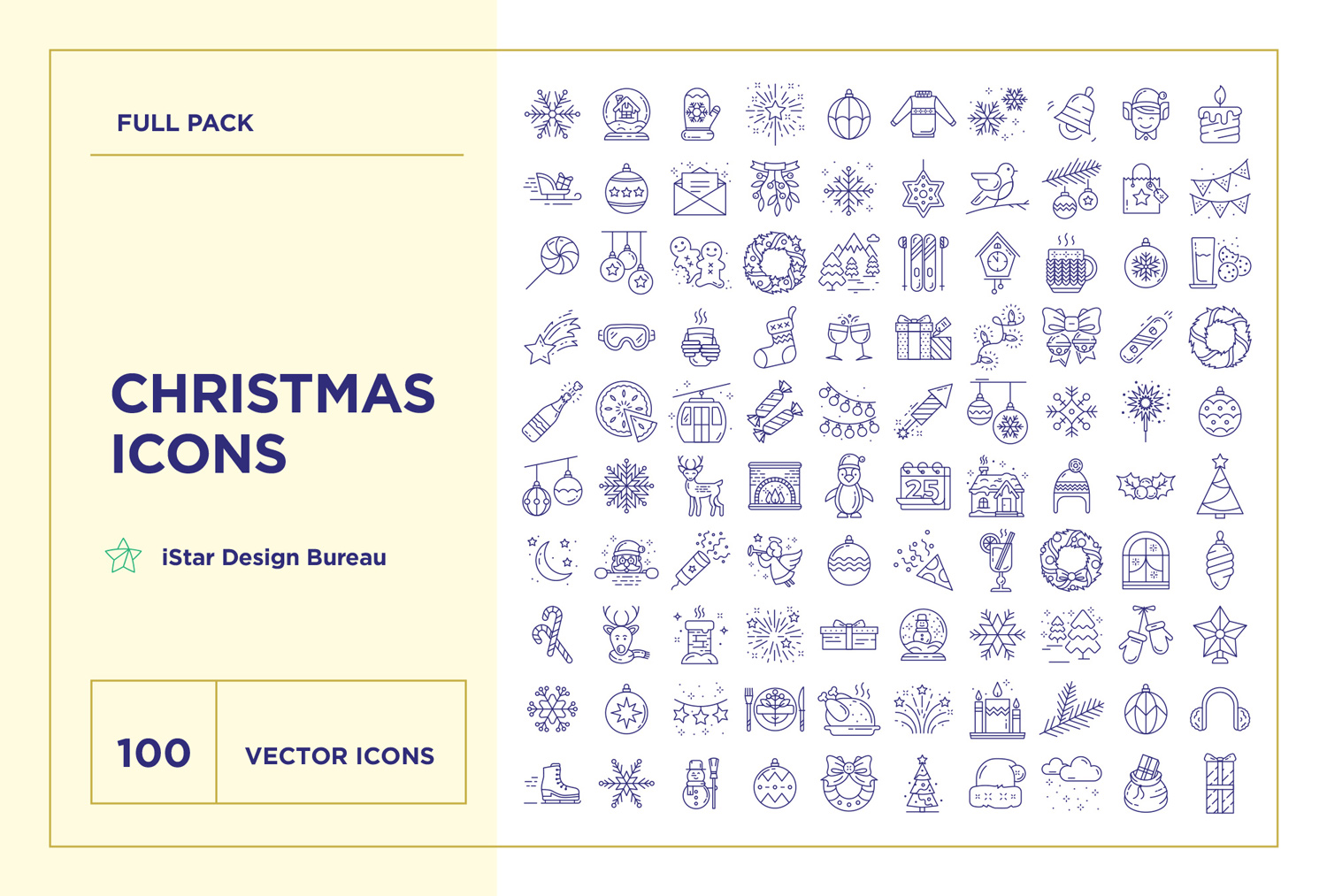 free Christmas line Icons Set