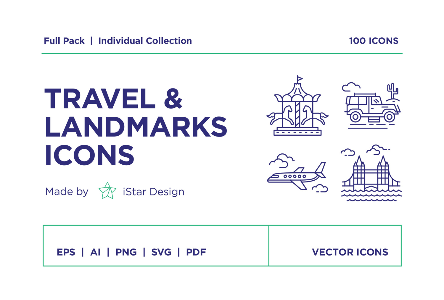download travel landmarks icons set