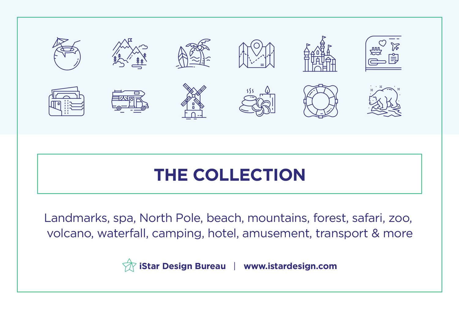 free travel landmarks icons set