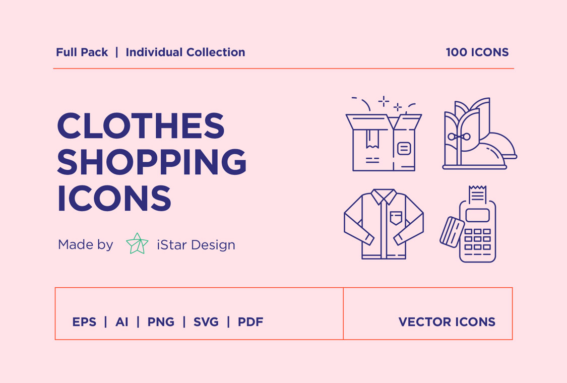 download clothes shopping icons set