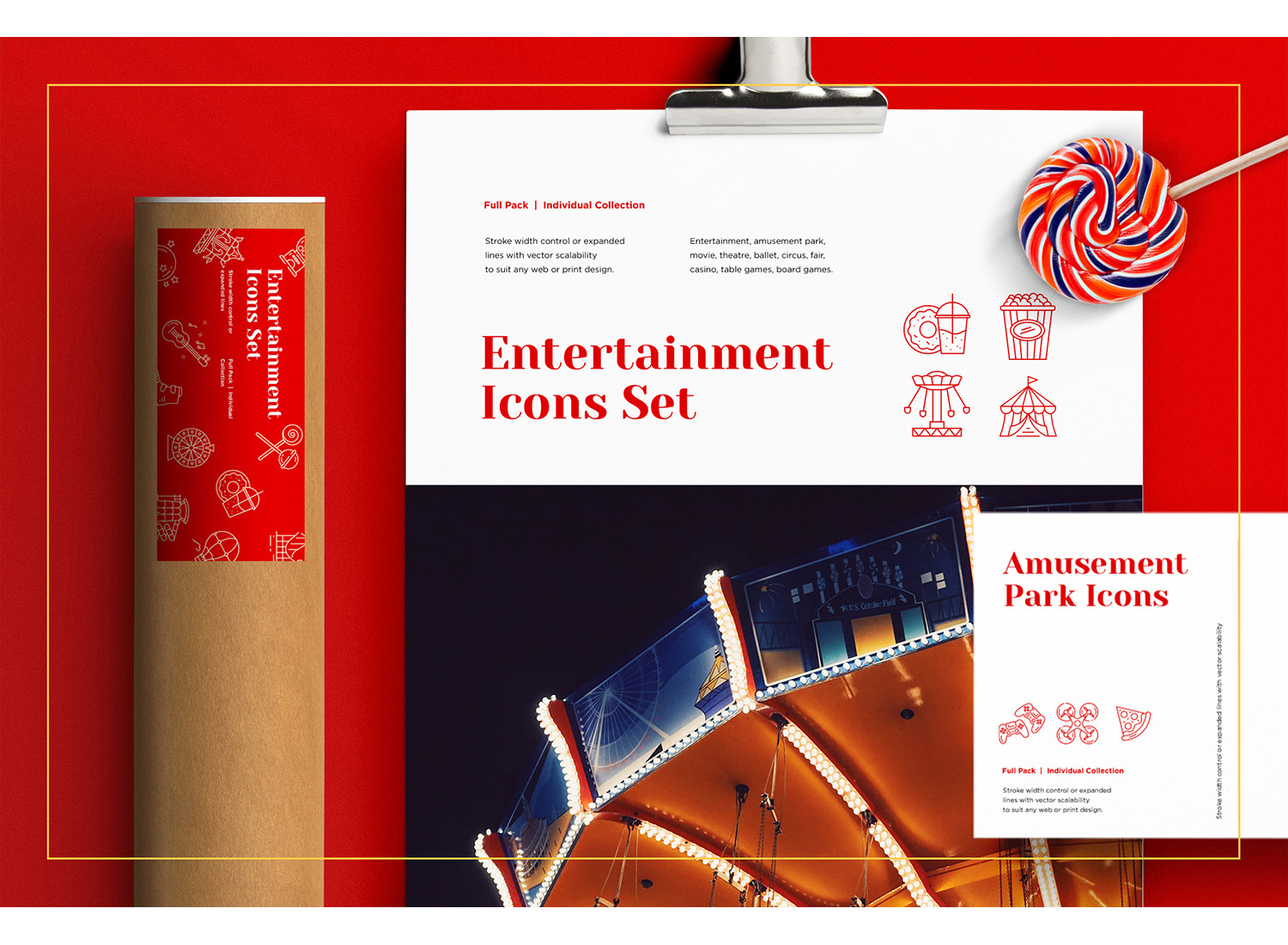 download Entertainment and Amusement Park Icons Set