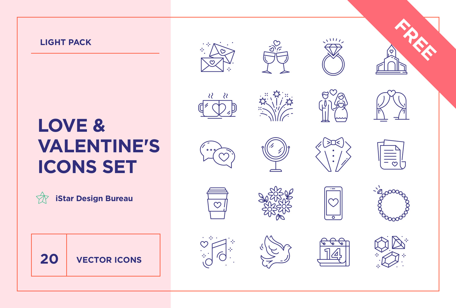 free valentine love wedding icons package