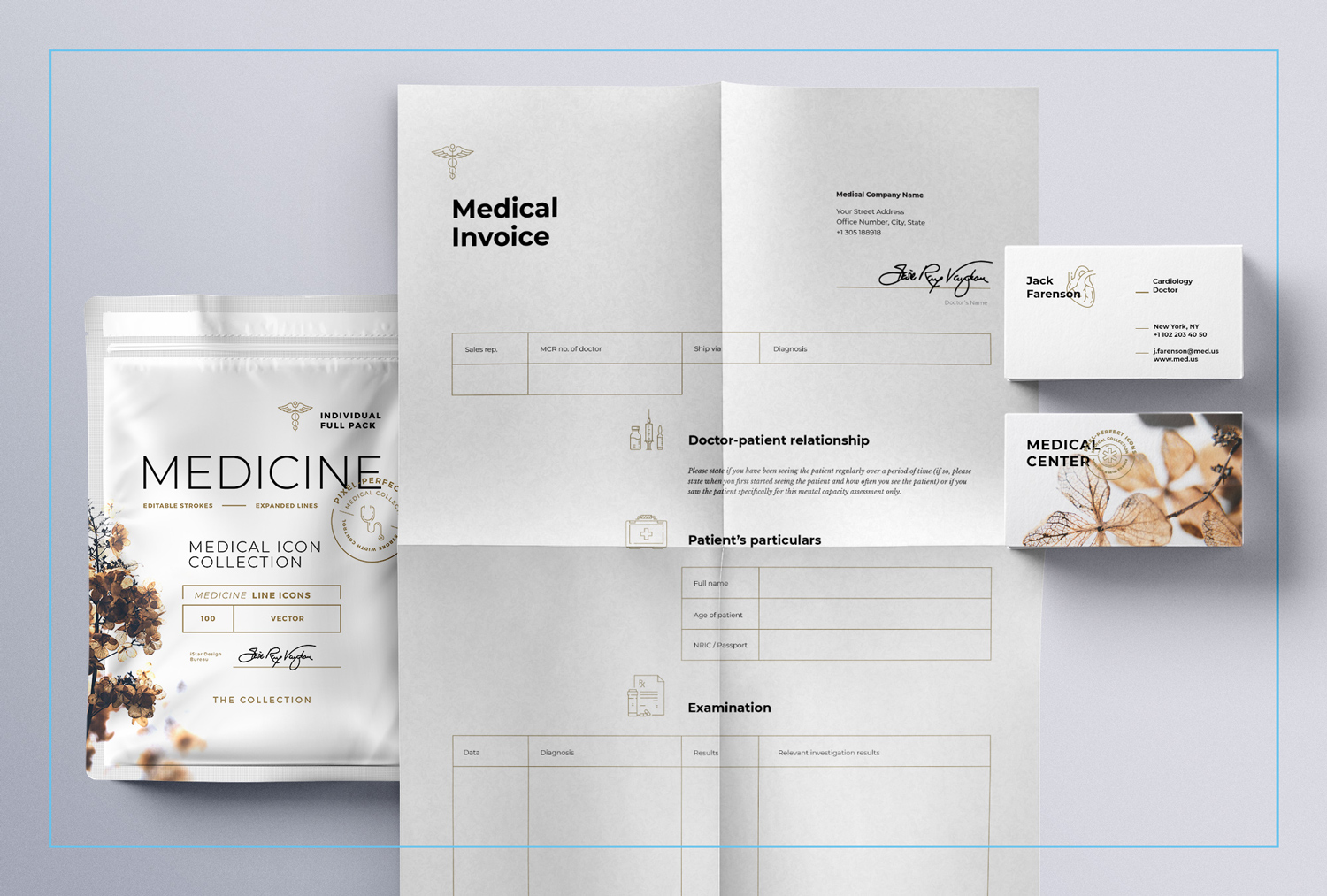 Medical line icons package