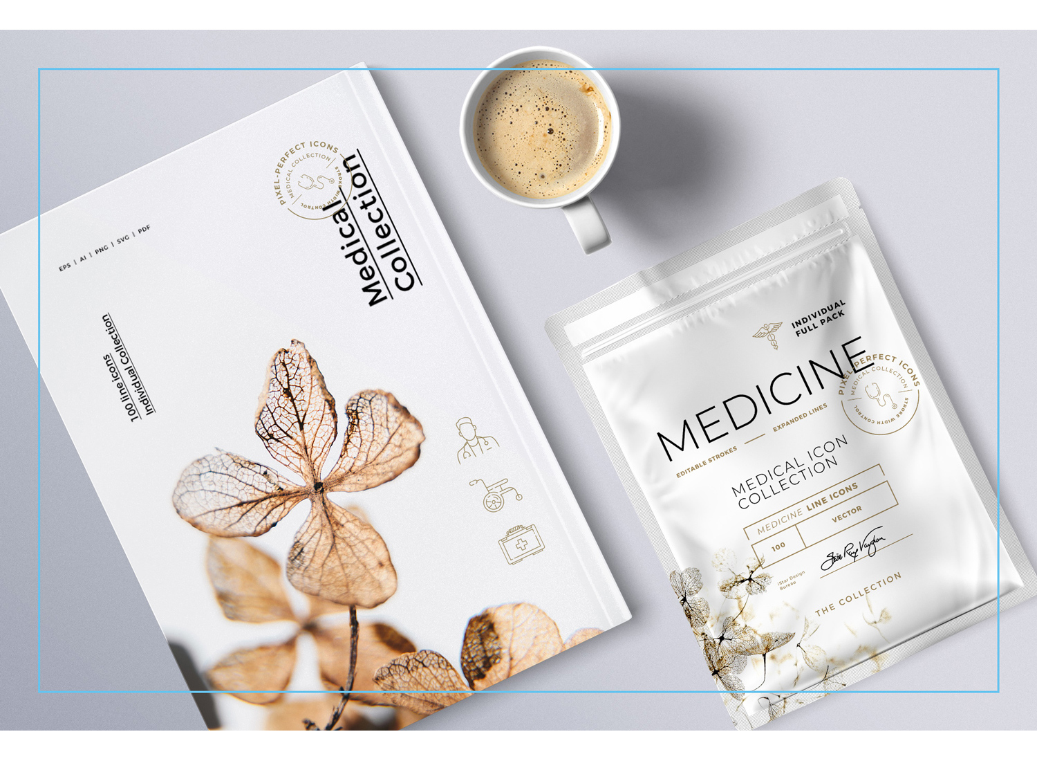 Medicine line icons package