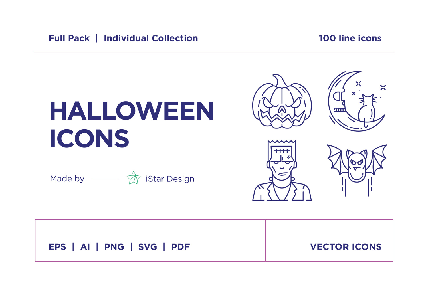 free download Halloween line icons