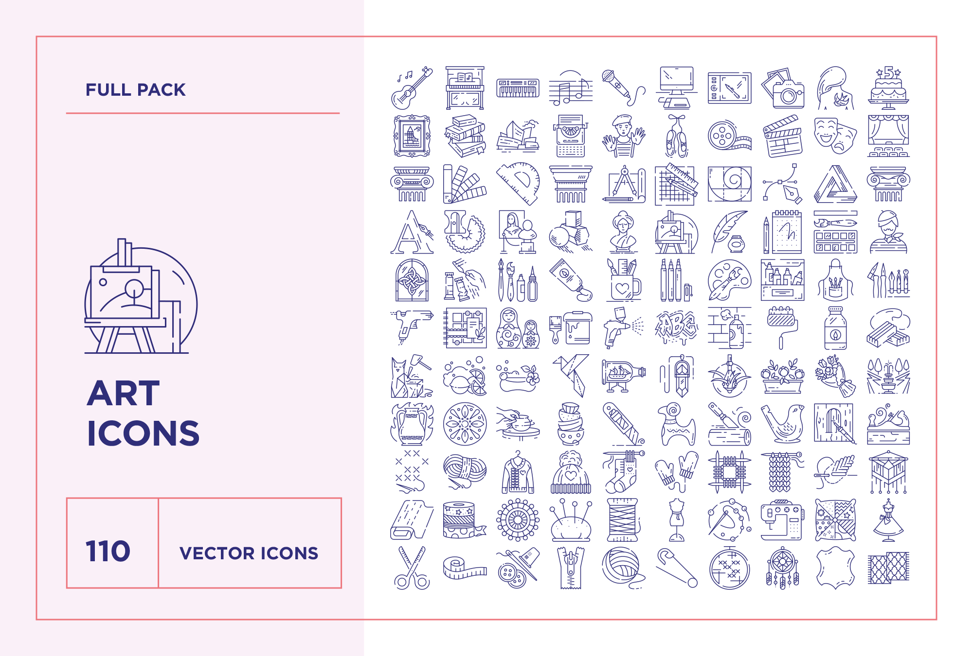 download art craft line icons